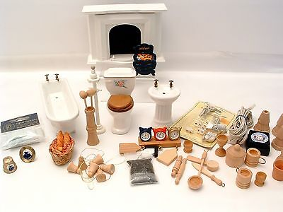 DOLLS HOUSE Mixed Lot Inc Fireplace, Fire Grate, Wooden Kitchen, Bathroom etc