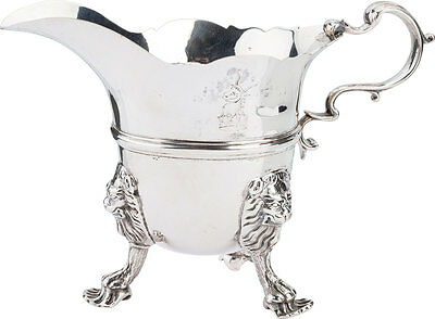 18th Century Sterling Cream Pitcher with Lion Heads - Dublin, Ireland