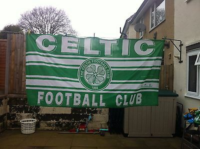 celtic fc flag, big size 8 foot by 4 foot, celtic flag, football. champions,used