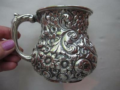 c1891 Antique Sterling Silver REPOUSSE Baby Cup 145 grams