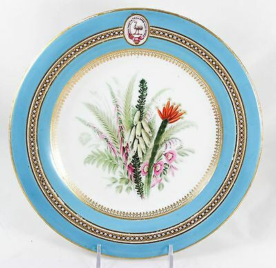 Special Antique Hand Painted Royal Worcester China Plate Jeweled Turquoise Gold