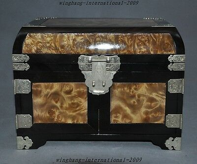 Chinese precious Rosewood Inlay Gold-rimmed nanmu Wood Makeup box Jewelry boxes