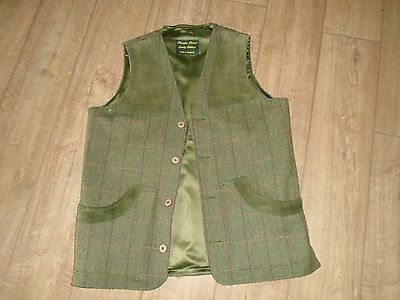Green Checked Wool Tweed/ Suede Gilet / Waistcoat- , Shooting- Country Pursuits