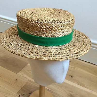 1950s BRITISH-MADE STRAW BOATER HAT THE RIDGEMONT MAKE BOATING XS 53/54CM APPROX