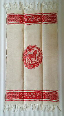 Antique DAMASK LINEN Towel Fringed Turkey Red Embroidery ZEBRA ! Equine
