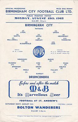 BIRMINGHAM CITY v DRUMCONDRA 1963/4,FRIENDLY