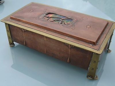 Superb Copper & Enamel Arts & Crafts Art Nouveau Box Casket Signed Rs Liberty ?