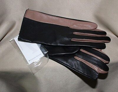 NEW ETIENNE AIGNER Womens Black & Brown Leather Gloves Size S