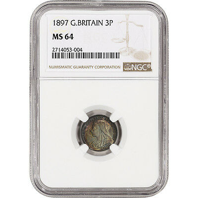 1897 Great Britain Silver 3 Pence 3P - NGC MS64