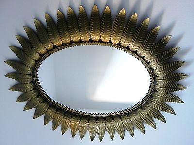 Espejo Sol Metalico Antiguo Vintage Dorado Metal Antique Sunburst Mirror