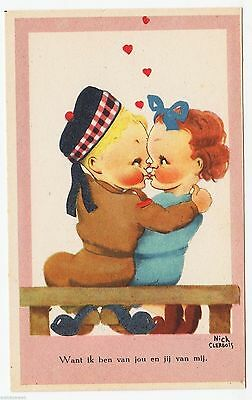 SOLDIER KISSING SWEETHEART - I Am Yours -  c1940s era comic postcard
