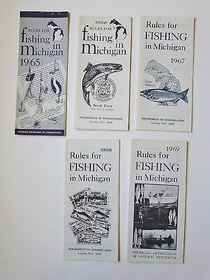 Vintage Rules for Fishing in Michigan 1965 66 67 68 69 License Laws Lot of 5