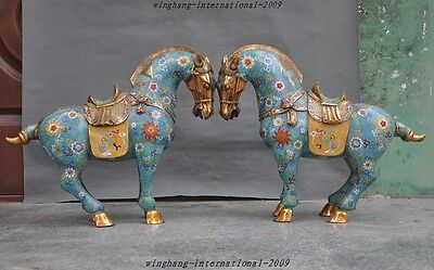Old China Fengshui Bronze Cloisonne Enamel Palace Animal Tang Horse lucky Statue