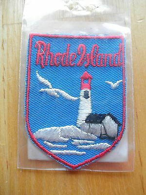 1950s Vintage VOYAGER Sew On Cloth Patch LIGHTHOUSE State Souvenir Rhode Island