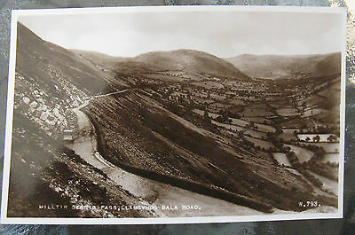 Postcard. Milltir Cerrig Pass, Llangynog Bala Road. Real Photo. Sepia unused. e3