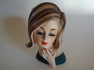 """Vintage Young Lady Teen Headvase - 7"""" Tall - Flip Hair and Ring - Great Vase!!"""