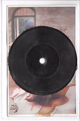 Old Novelty Postcard  Gramophone Record ( plays birthday wishes)