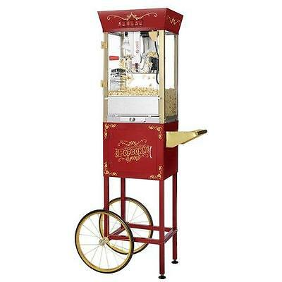 Great Northern Popcorn Red Antique Style Popper Machine Cart, 8 Ounce