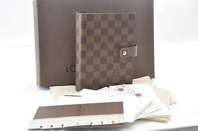 Authentic  Louis Vuitton Damier Agenda MM Day Planner Cover R20701 #SS502
