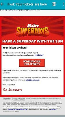 4 x Chessington World Of Adventures Tickets / Monday 10th July