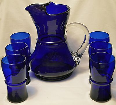 """Vintage C. 1927 5daysToPay Louie glass cobaltBlue pitcher 6 tumblers 9 1/2"""" High"""