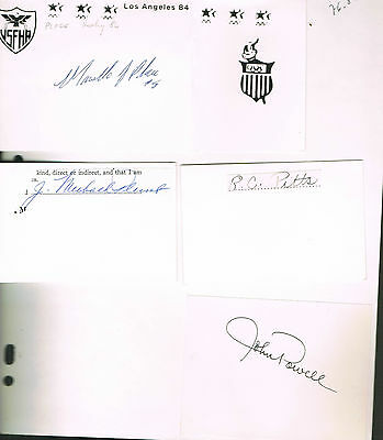 Autographes  Americains - Jeux Olympiques -Powell-Place-Pitts-Plumb -
