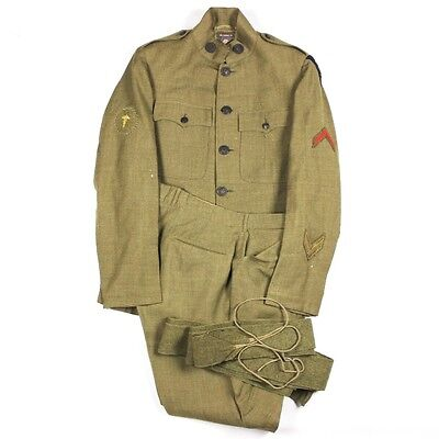 Wwi Us Army M1917 / M17 Od Wool Service Coat Breeches Trousers District Of Paris