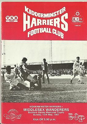 Kidderminster Harriers v Middlesex Wanderers 10.5.87 (Alaway Trophy)