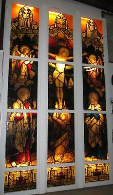 """OLD LEADED STAINED GLASS CHURCH WINDOW """"Franz Mayer"""" signed 10'6"""" x 6'6"""""""