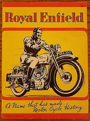 VTG 1940's Royal Enfield Motorcyle Fold-Out Sales Advertising Brochure RE G J2