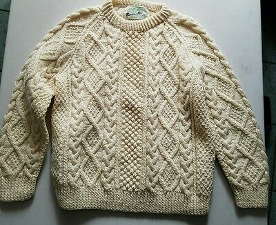 Vintage Barnas Mor Irish Knit Fisherman Wool Sweater Cable Knit Donegal Womens S