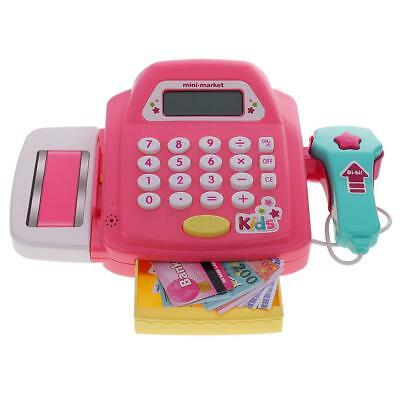 Pretend Play Electronic Cash Register Kids Realistic Actions Toy Games Pink