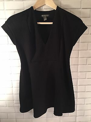 A Pea In The Pod Maternity Black V Neck Textured Flared Top Short Sleeve Size XS