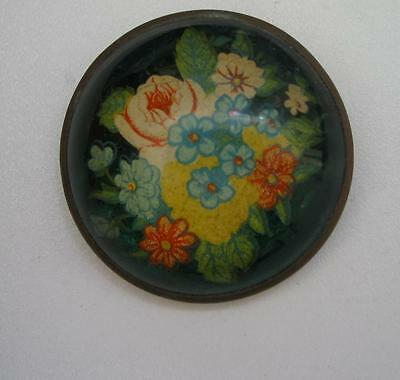 Antique Vintage horse bridle pin floral rosette, round glass brooch flowers