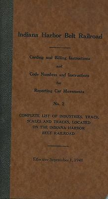 vintage 1941 IHB Carding & Billing Instr w/list of industries, track scales, etc
