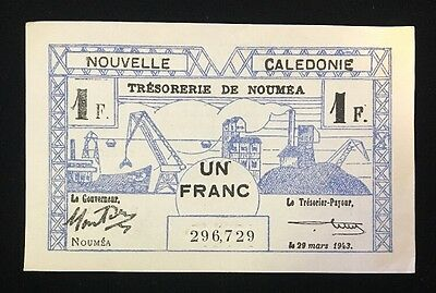 New Caledonia 1 Franc Note March 29, 1943