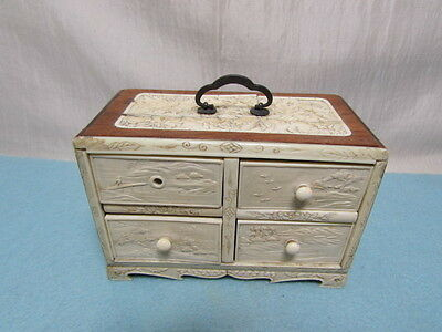 Antique Chinese Carved Miniature 4 Drawer Chest Jewelry Box as is