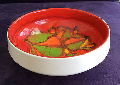 "Vintage Poole Pottery England 6 5/8"" bowl 88 Delphis red orange Cynthia Bennett"