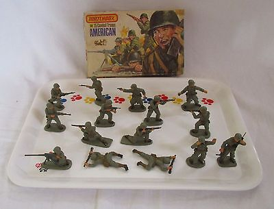 Set of 15 MATCHBOX WWII American Combat Troops Soldiers 1:32 Scale from 1976 box
