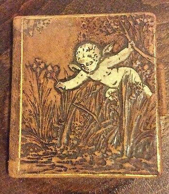 Vintage Brown Leather Address Book Cover Only Cherub Angel