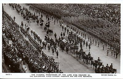 Funeral Procession Of King Edward Vii - Gun Carriage 1910 Royalty Postcard Exc
