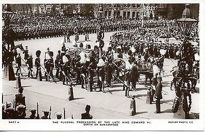 Funeral Procession Of King Edward Vii - Coffin On Carriage 1910 Royalty Postcard