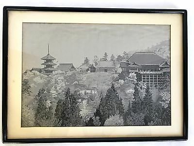 ORIGINAL JAPANESE SILK TEXTILE ART LANDSCAPE Picture Print Black & White Framed