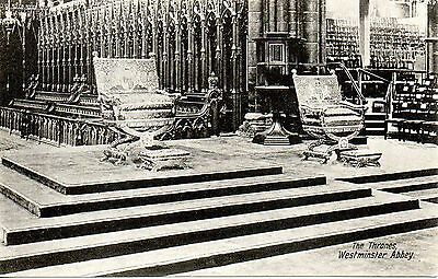 WESTMINSTER ABBEY - THE THRONES c1910 ROYALTY POSTCARD