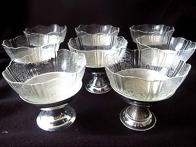 Vintage Depression Glass American Sweetheart 8 Sets Sherbet Custard Fruit
