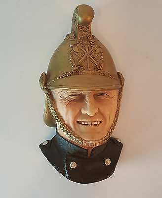 BOSSONS Victorian Fireman Chalkware 1989 Wall Hanging Fire Fighting Head