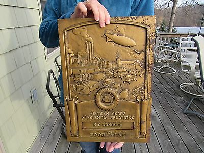 ORIGINAL 1940's GOODYEAR TIRE AND RUBBER CO. SIGN DEALER SERVICE AWARD PLAQUE