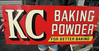 ORIGINAL 1900 - 1930's KC BAKING POWDER SIGN DOUBLE SIDED TIN LITHOGRAPH SIGN