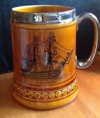 Vintage Lord Nelson Pottery Mug H.M.S Victory Tankard Historic Naval Navy Stein