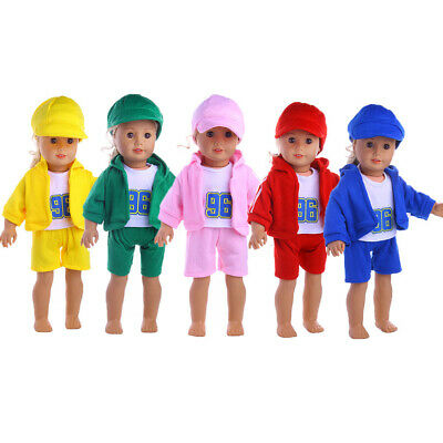5 Sets Casual 4pcs Doll Clothes Outfit for 18'' AG American Doll My Life Dolls